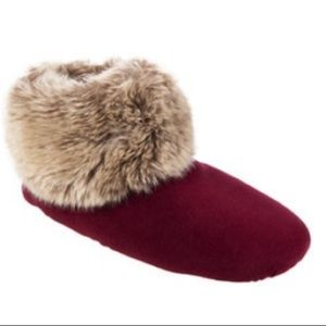 Isotoner velour/faux fur bootie slipper/5-6/gifts